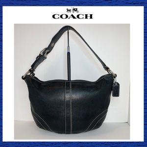 Coach Black Silver Leather Medium Hobo
